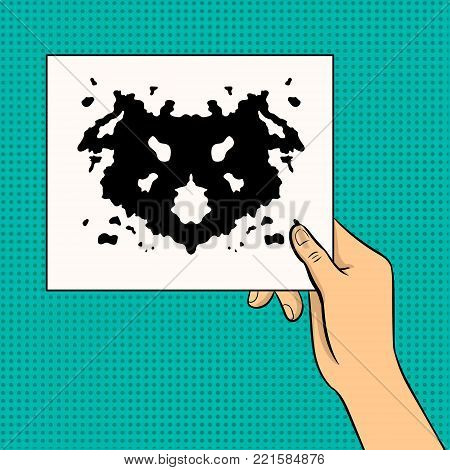 Rorschach test in hand pop art retro vector illustration. Color background. Comic book style imitation.