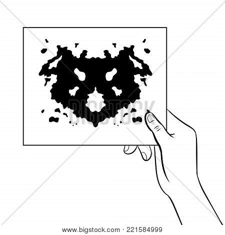 Rorschach test in hand coloring vector illustration. Isolated image on white background. Comic book style imitation.