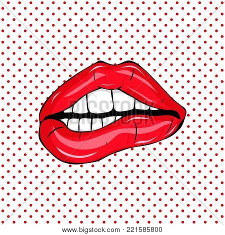 Sweet sexy pop art Pair of Glossy Vector Lips. Open Sexy wet red lips with teeth pop art set backgrounds, vector illustration, pattern