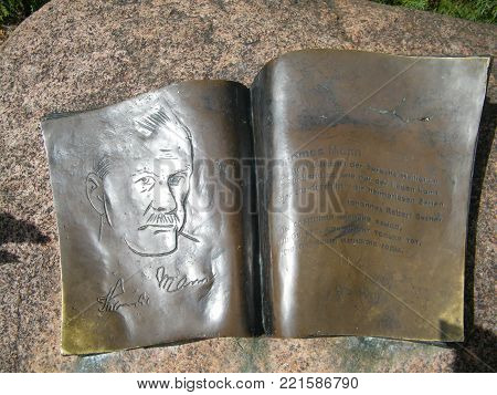 2011, the book on the stone - memorial, dedicated to Thomas Mann, in the yard of the house where he was vacationing in August 1929