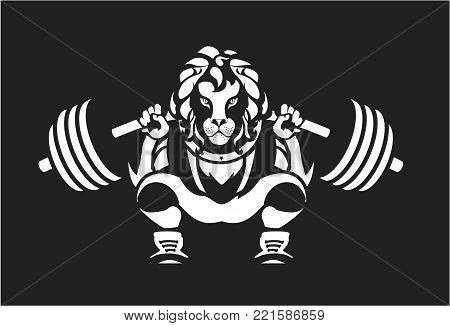 vector illustration of a powerlifting squat with the bar character Leo in sports equipment on a black background logo the competition emblem sport club