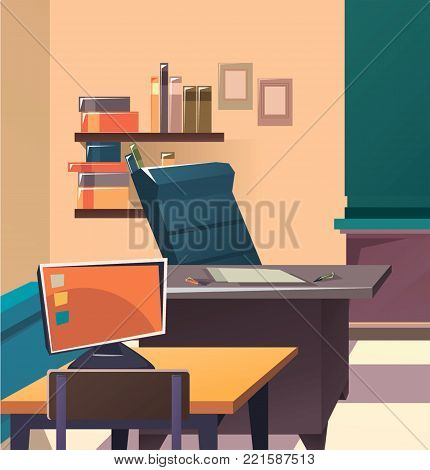 Modern flat illustration. Education background. Empty school classroom. Classroom interior. Meeting room