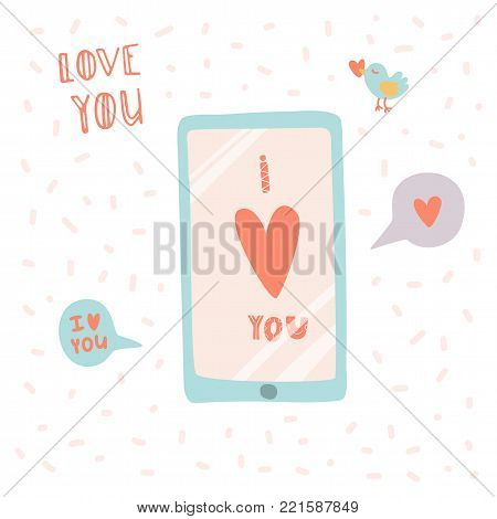I love you. Smartphone with message in hand drawn cartoon style. Stock vector