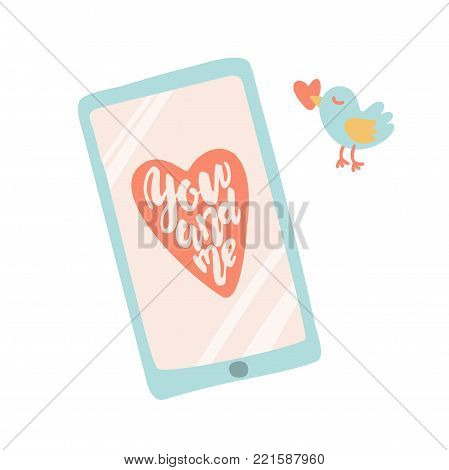 You and me. Hand drawn lettering qoute. Smartphone with message in cartoon style. Stock vector