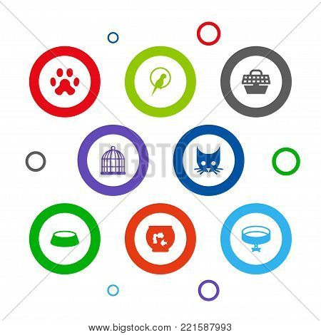 Collection Of Cat, Birdcage, Bird And Other Elements.  Set Of 8 Mammal Icons Set.