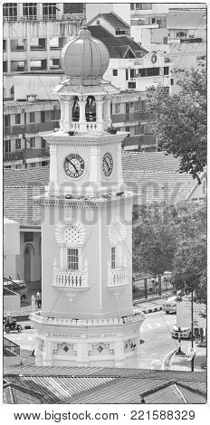GEORGE TOWN, MALAYSIA - JANUARY 28, 2011: Clocktower in the historic district of Georgetown on January 28, 2011 in Penang, Malaysia