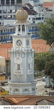 GEORGETOWN, MALAYSIA - JANUARY 28, 2011: Clocktower in the historic district of Georgetown on January 28, 2011 in Penang, Malaysia