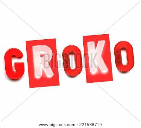 GroKo, short for Grosse Koalition in German (meaning Grand Coalition), written with plastic toy letters in red and white