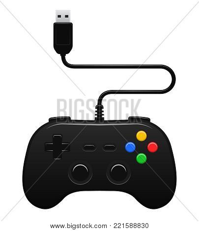 Gamepad vector illustration wired joystick controller device poster