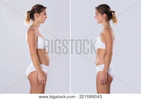 Woman Before And After Diet. Body Shapes Have Been Retouched
