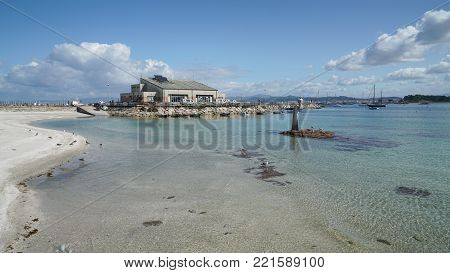 O GROVE, SPAIN - SEPTEMBER 15, 2017: Ferry harbor of O Grove on the coast of Galicia on September 15, 2017 in Spain