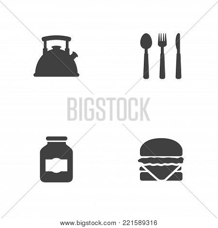 Collection Of Sandwich, Jar , Silverware Elements.  Set Of 4 Culinary Icons Set.