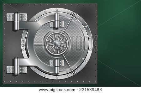 A huge metal round safe door. Reliable saving of secrets and passwords. Copy space.