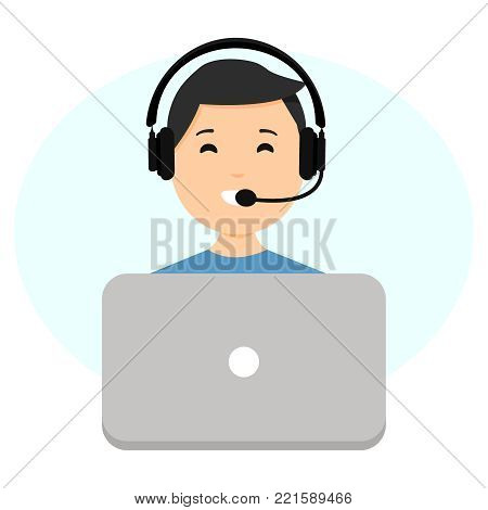 Call center operator concept, customer support phone operator concept. Can be used for websites, presentations, banners, etc. Vector illustration