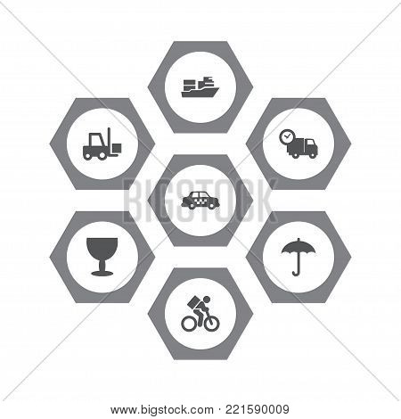 Collection Of Delivery, Cab, Goblet And Other Elements.  Set Of 7 Cargo Icons Set.