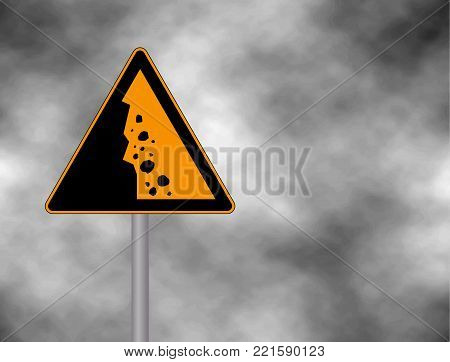 Danger falling stones icon. Falling rocks warning traffic road sign. Vector illustration caution danger of falling isolated on a grey sky