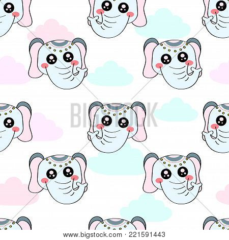 Cute Kids Elephant Pattern For Girls And Boys. Colorful Elephant On The Abstract Background Create A