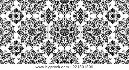 Seamless pattern. Black and white seamless background. Ethnic abstract background, abstract pattern. Geometric pattern. Background for printed products, brochures, booklets, fabric. Vector EPS 10