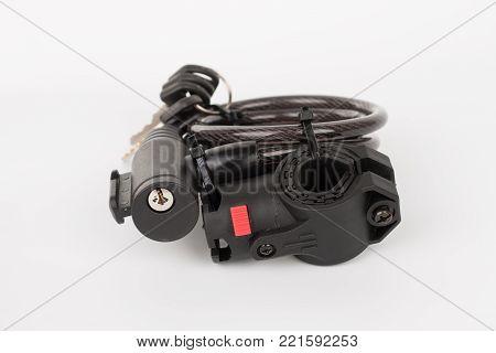 Bicyle Key Lock, Isolated On White Background, Studio Photo.