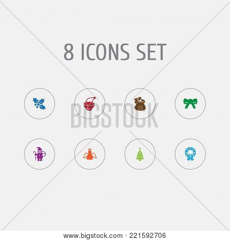 Collection Of Archangel, Decoration, Ilex And Other Elements.  Set Of 8 New Icons Set.