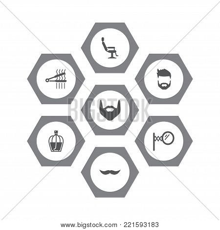 Collection Of Hipster, Coiffure, Elbow Chair And Other Elements.  Set Of 7 Barber Icons Set.