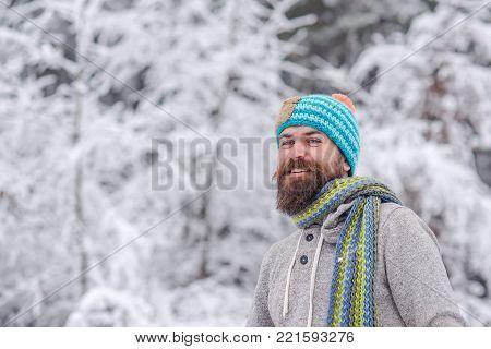 Man In Thermal Jacket, Beard Warm In Winter.