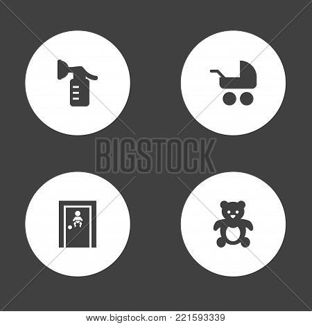 Collection Of Sucker, Room, Bear And Other Elements.  Set Of 4 Baby Icons Set.