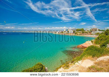 Clear sky over sea. Summer resort scenic landscape. Costa dorada spain resort.