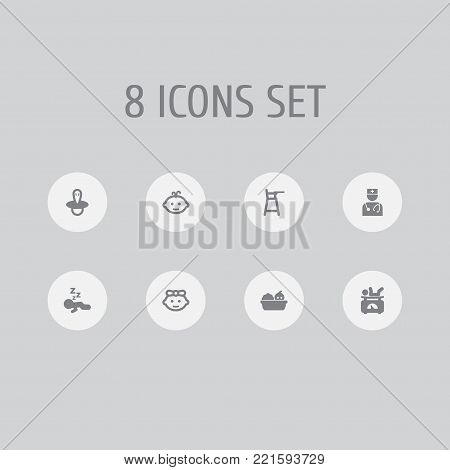 Collection Of Teat, Pediatrist, Balance And Other Elements.  Set Of 8 Baby Icons Set.