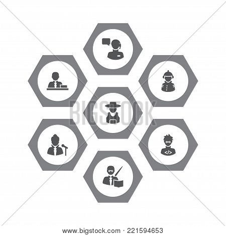 Collection Of Vocalist, Fireman, Leaner And Other Elements.  Set Of 7 Position Icons Set.