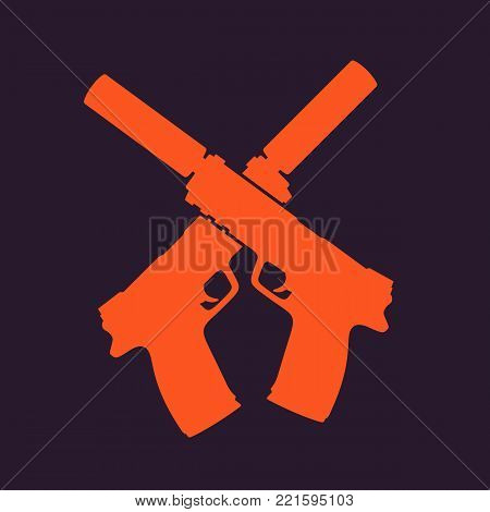 pistols silhouette, handguns with silencers, print with crossed guns