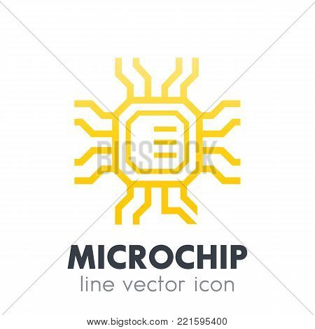 chipset, microchip icon on white, eps 10 file, easy to edit