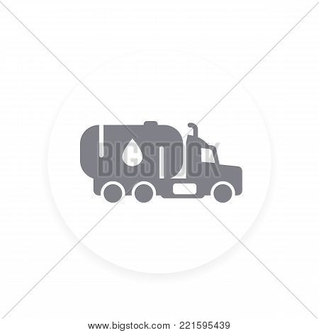 Gasoline tanker, truck with petroleum vector icon, eps 10 file, easy to edit