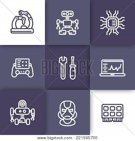 Robotics, mechanical engineering, microelectronics, robots icons, linear style