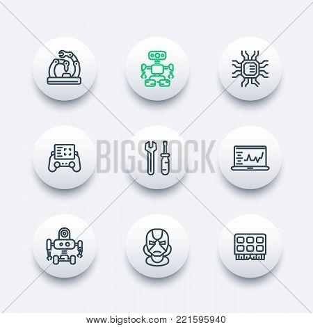 Robotics, mechanical engineering, robots, microelectronics line icons set