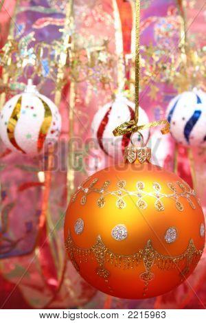 Orange Christmas Sphere And Celebratory Ribbon 2
