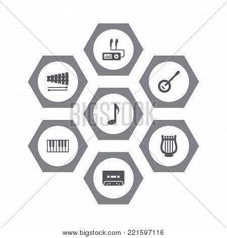 Collection Of Percussion, Lyre, Banjo And Other Elements.  Set Of 7 Song Icons Set.