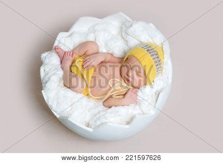Newborn baby asleeps in basket