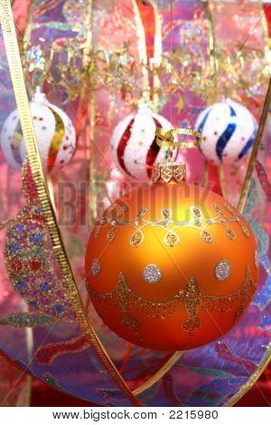 Yellow Christmas Sphere And Celebratory Ribbon 2