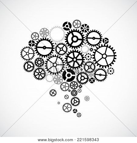 Abstract technology background. Cog wheel theme/ brain form