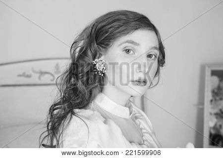 Black and white creative photography. Black and white conceptual image. Beautiful black and white background. Black and white portrait. Black white photo of a young girl