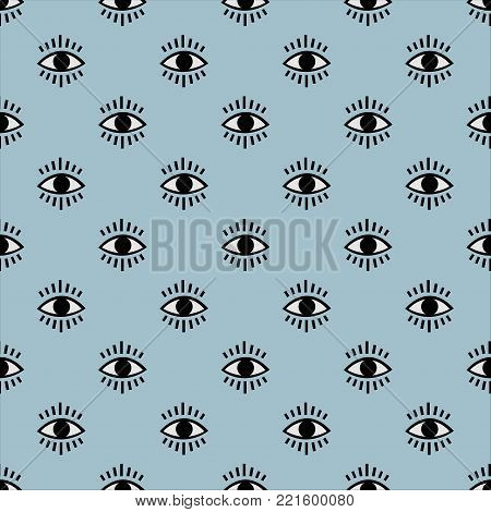 Seamless open eye pattern on subtle background. Repeating eye background. Vector Illustration