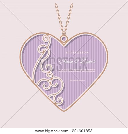 Invitation card template with laser cutting filigree frame in the shape of heart pendant. Valentines day template with place for text. For greeting cards, wedding invitations, jewelry advertising