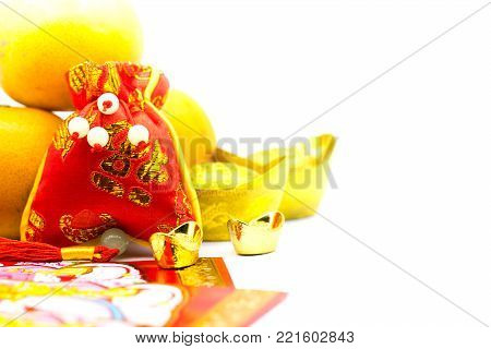 Chinese New Year, Chinese gold ingots and Traditional chinese style (Foreign text means blessing and luckly), isolated on white background