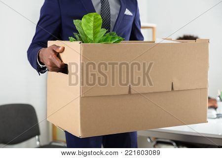 Close-up Of A Businessperson's Hand Holding Belongings In Cardboard Box