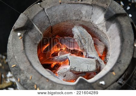 Hot Fire Of Charcoal Burning In The Stove.burning Charcoal Firewood In The Stove, Selective Focus