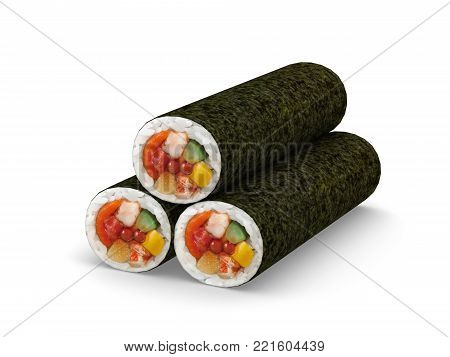 Sushi roll for traditional Japanese event Setsubun event, 3D Illustration