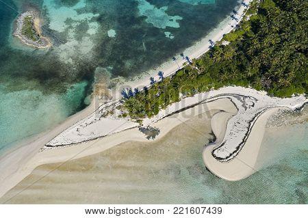 Aerial view of Tahiti Beach on Elbow Cay in Abaco, Bahamas.