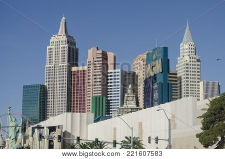 LAS VEGAS, NEVADA, USA- NOVEMBER 11, 2017: View of the famous New York-New York Hotel and Casino in a sunny day in Las Vegas, Nevada