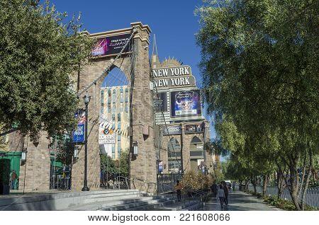 LAS VEGAS, NEVADA, USA- NOVEMBER 11, 2017: Exterior view of the New York New York Casino at Las Vegas Strip on November 11, 2017. The New York New York is a famous and popular luxury casino in Vegas.